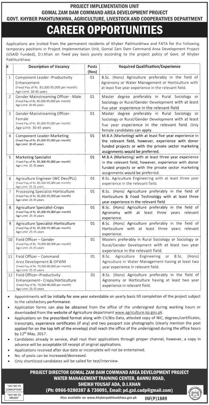 Jobs in Agriculture Livestock And Cooperative Department KPK  26 April 2017