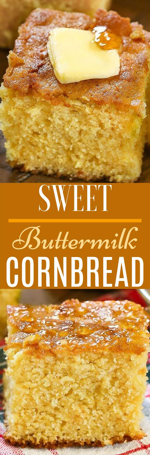 Sweet Buttermilk Cornbread #cake #desserts