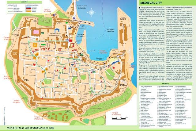 Rodos Adası Old Town (Kale içi) bölgesi gezilecek yerler haritası