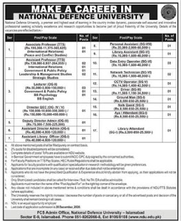 National Defence University Islamabad Jobs 2020 Application Form