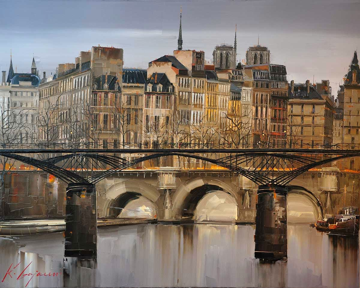 05-Pont-des-Arts-Kal-Gajoum-Paintings-of-Dream-Like Cities-of-the-World-www-designstack-co