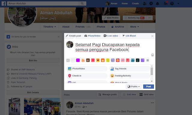 Cara Update Tulisan Bold Di Status Facebook