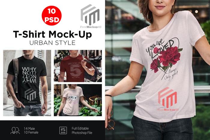 T-Shirt Mock-Up Urban Style Female Bundle Pack
