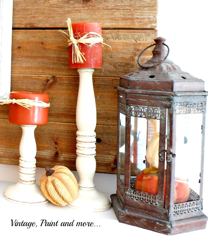 Vintage, Paint and more... vintage lantern with dollar store pumpkins and wooden candle sticks for a vintage fall mantel