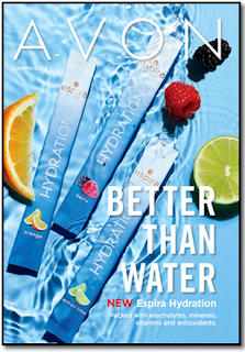 Avon brochure with water, fruit and drink mix packets