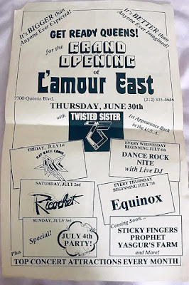 L'amour East in Queens, New York grand opening flyer... Twisted Sister opened up the club... June 30, 1983