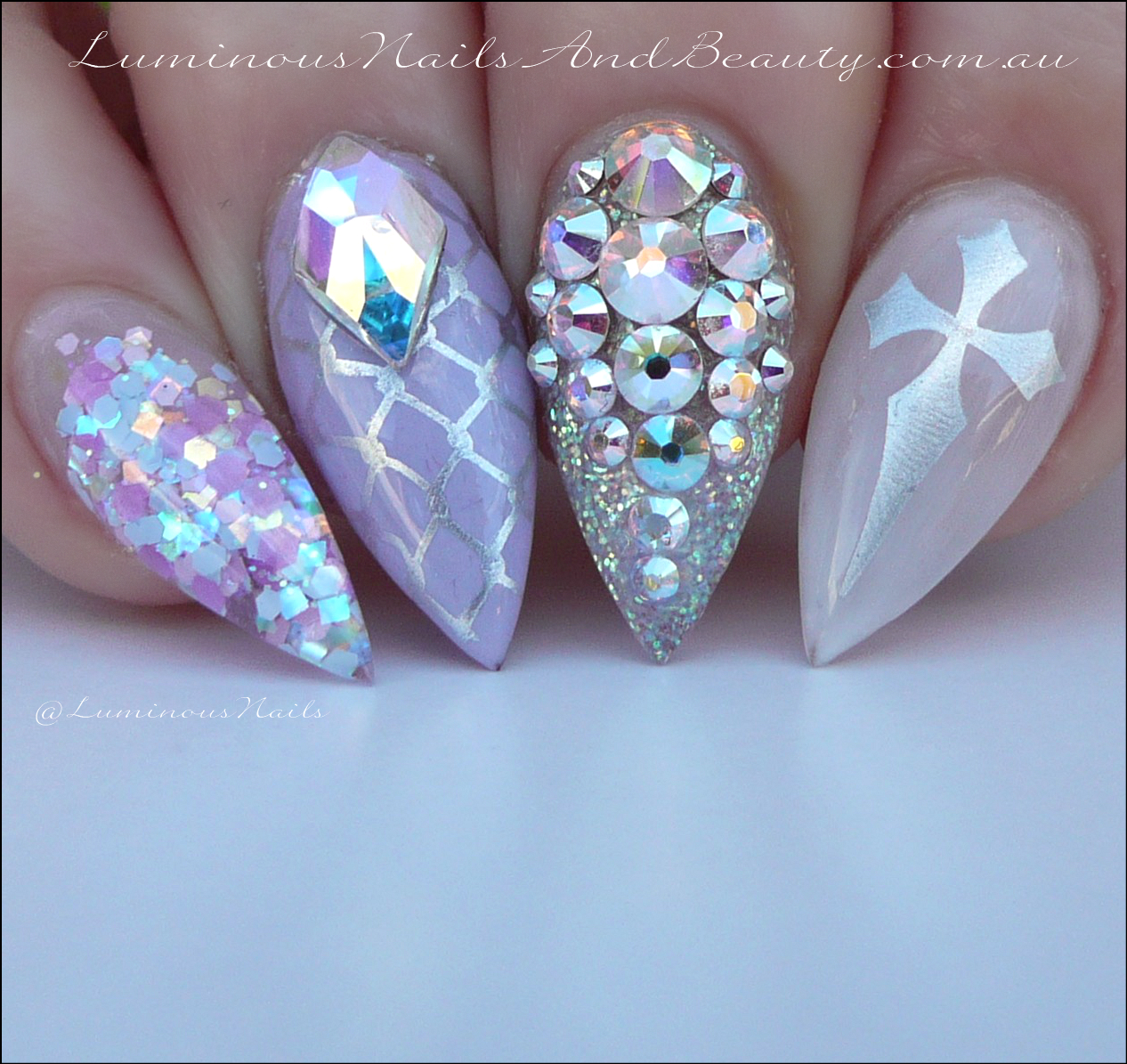 Pastel Goth Nails Lilac Sheer White Silver