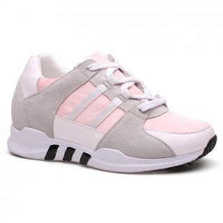 Women Height Increasing Shoes Pink & White High Heel Shoes That Make You Taller 7 CM /2.76 Inches