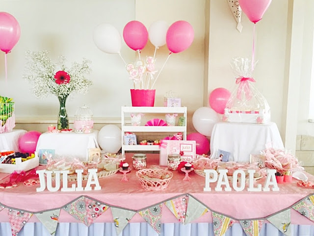 Mesa dulce comunion y bautizo rosa
