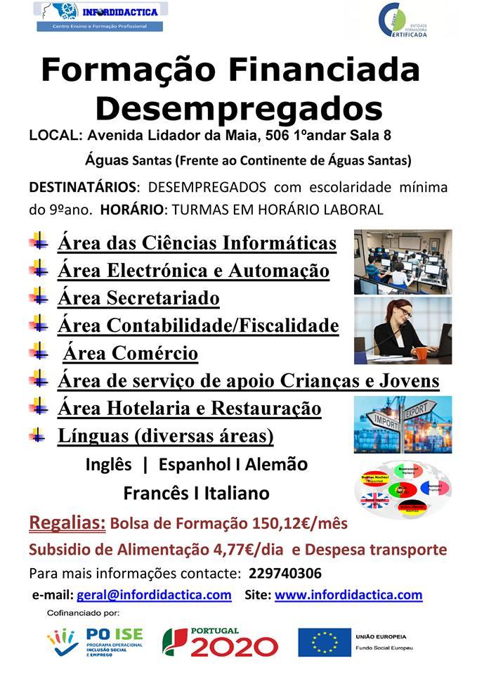 Formação financiada para desempregados – Águas Santas (Maia)