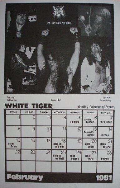 White Tiger 1981 calender