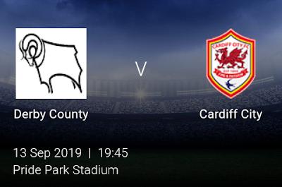 LIVE MATCH: Derby County Vs Cardiff City English Championship 13/09/2019