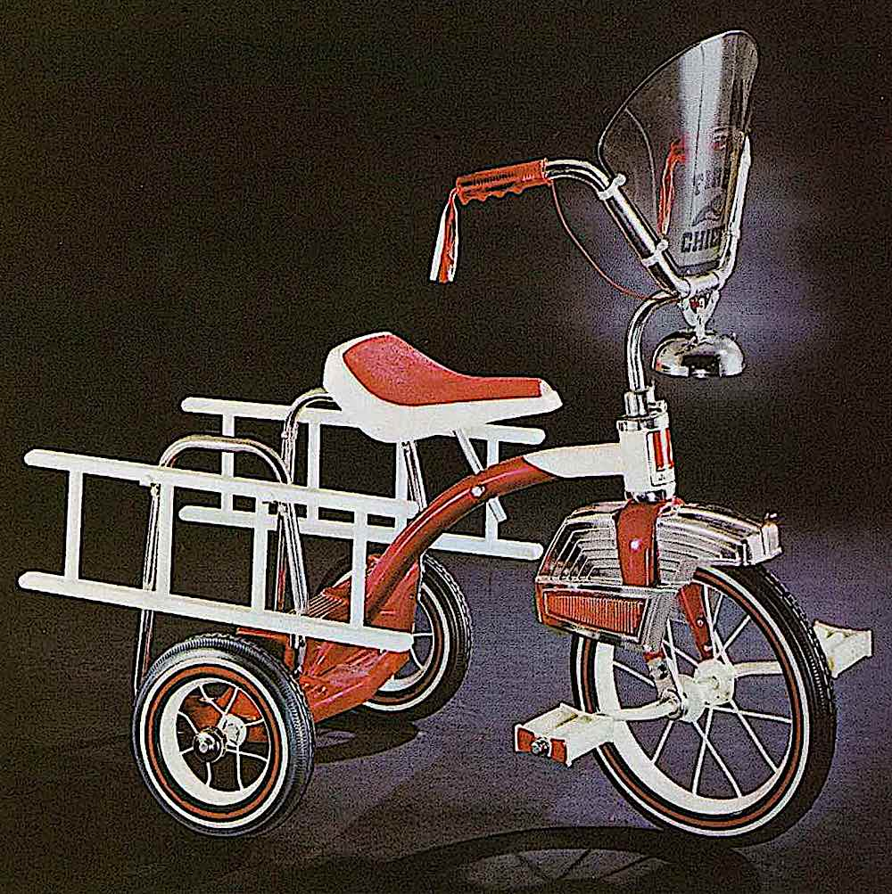 a 1971 child's fire truck tricycle color photograph