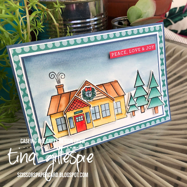 scissorspapercard, Stampin' Up!, CASEing The Catty, Trimming The Town Suite, Peace & Joy, In Colour DSP, Christmas Card, Watercolouring