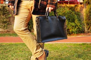 Atölye Feri gerçek deri evrak çantası