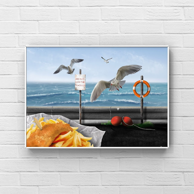 seagulls flying over fish and chips artwork by Mark Taylor
