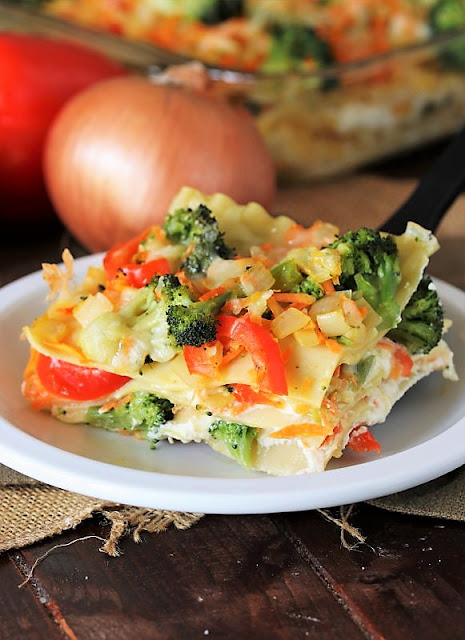 Piece of Vegetable Lasagna with Broccoli Image
