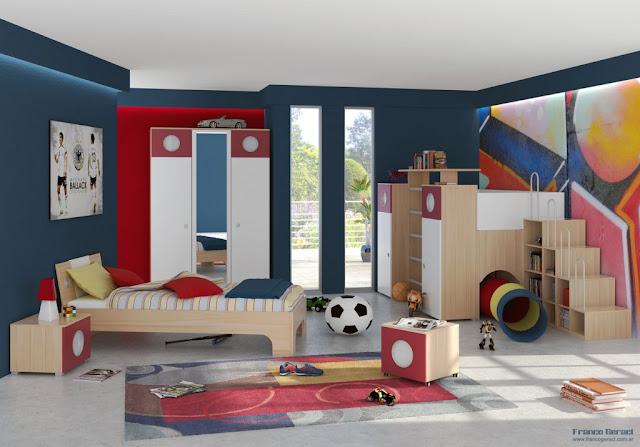غرفة نوم بنات اطفال , وكبار , غرفة نوم رياضية , بسرير , الوان مختلطة غامقة وفاتحة