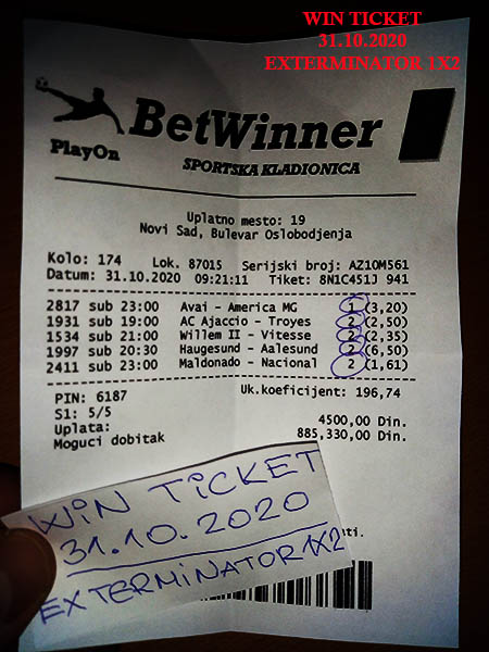 WIN TICKET FROM YESTERDAY SATURDAY/ SUBOTA 31.10.2020