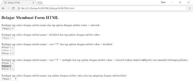 Tag select dalam form HTML