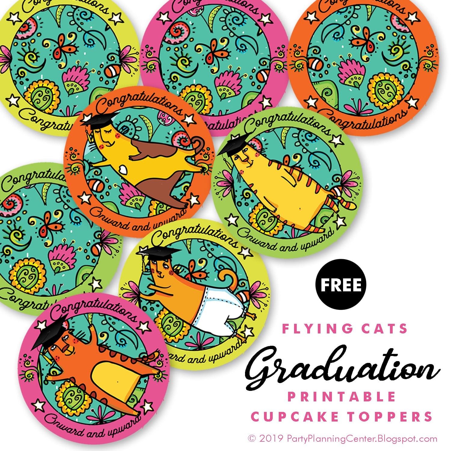 free printable file for graduation cupcake toppers