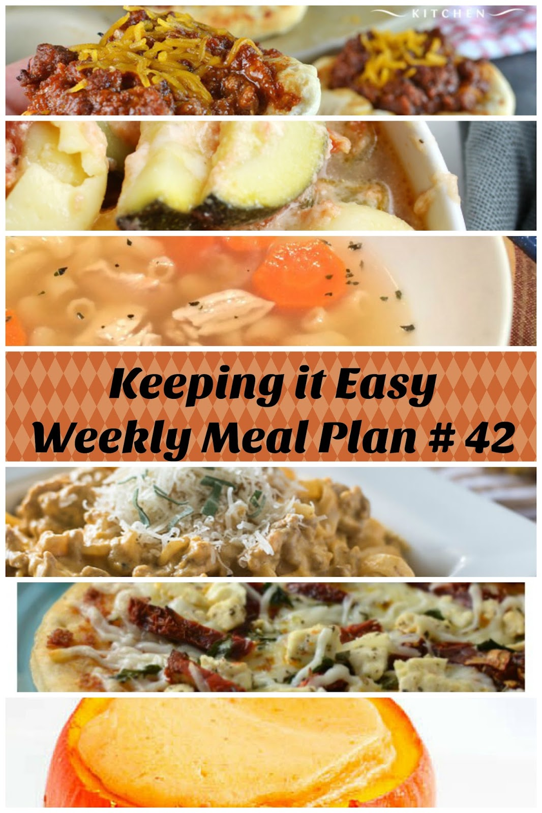 Easy Weekly Meal Plan #42 from My Fearless Kitchen. This week's meal plan includes Pumpkin Bread with Cream Cheese Icing, Cheesy Chicken & Veggie Tortellini Skillet, Chicken Soup with Rotisserie Noodles, Pumpkin & Sausage Alfredo, Mini BBQ Cheeseburger Cups, Sun-Dried Tomato Pizza, and Pumpkin Cheesecakes in Pumpkins.