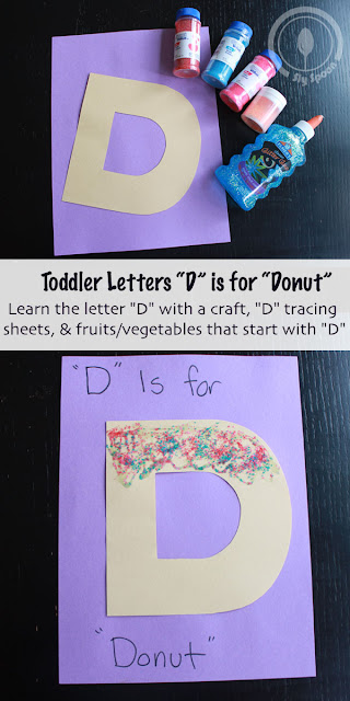 Toddler/Preshooler letter craft D is for Donut with related craft, tracing sheets and fruits/vegetables.