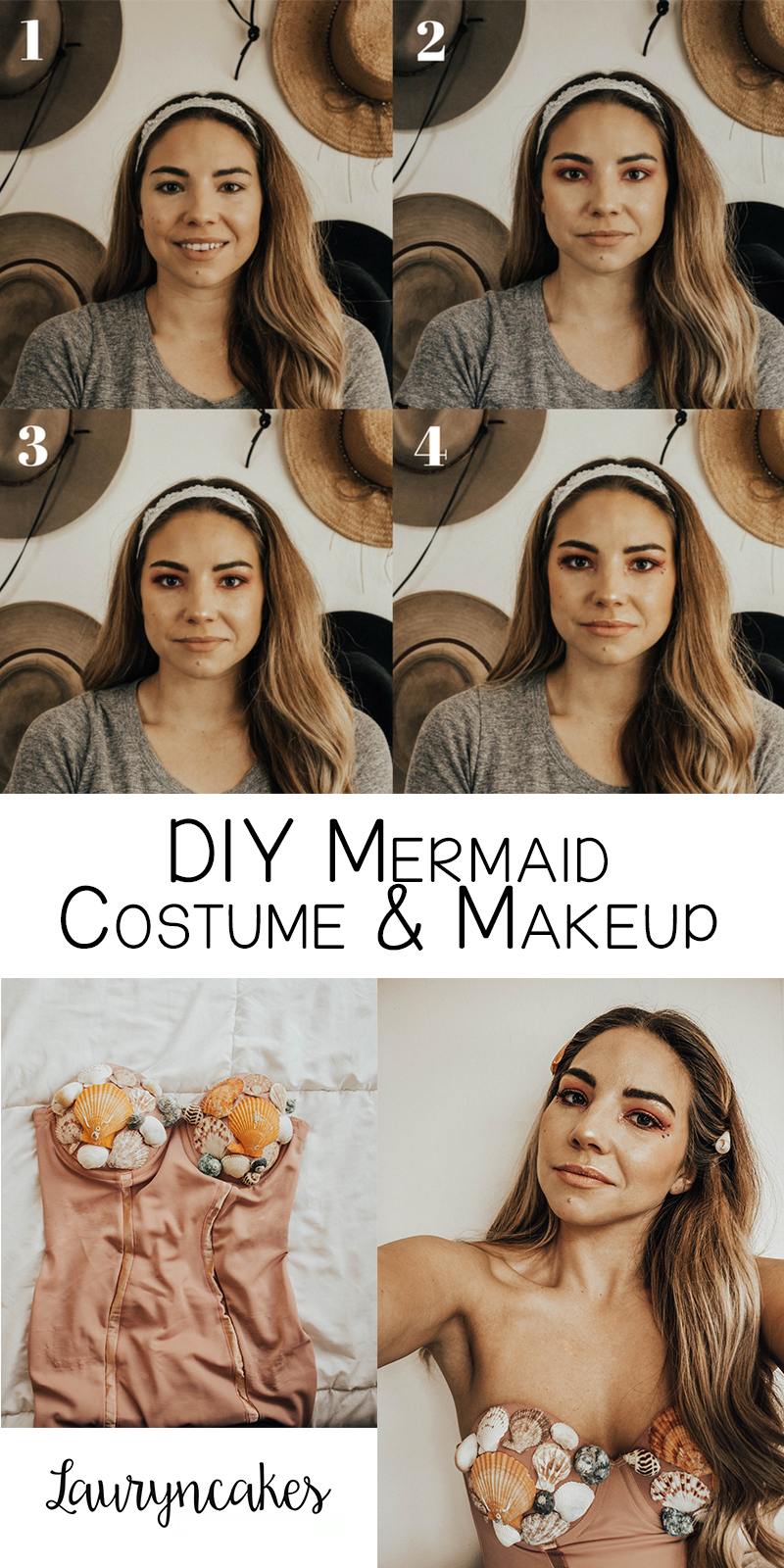 tutorial on a mermaid costume for halloween, how to mermaid look, beauty blogger