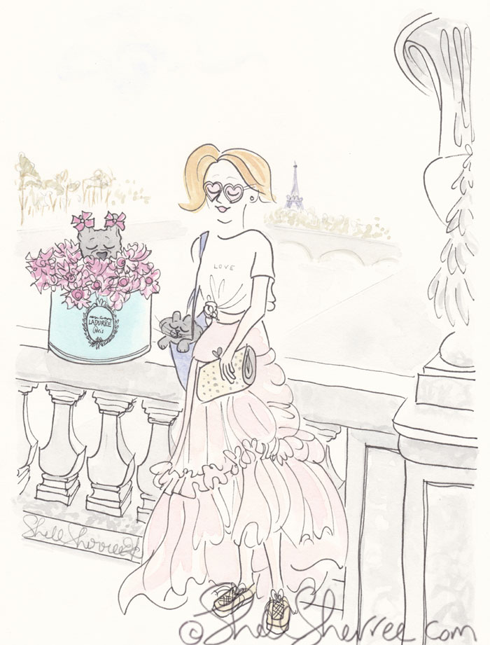 Paris Fashion and Fluffballs illustration: Laduree French Bulldog Fluffy Bridge Affair © Shell Sherree