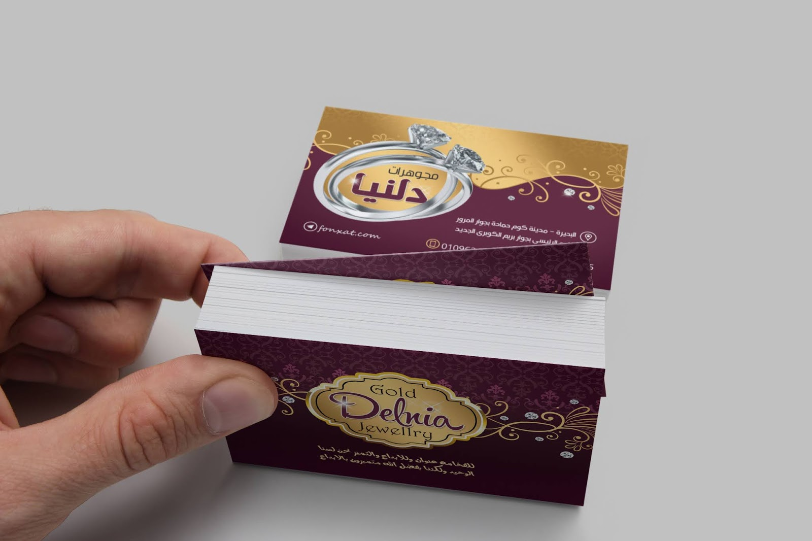 Professional business card gold and jewelry open personal card for gold and silver shops