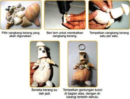Proses kerajinan cangkang kerang