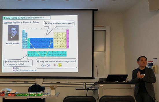 Yoshiteru Meano, Kyoto U., a recognized expert in superconductivity, explains the short comings in the periodic table (Source: Palmia Observatory)