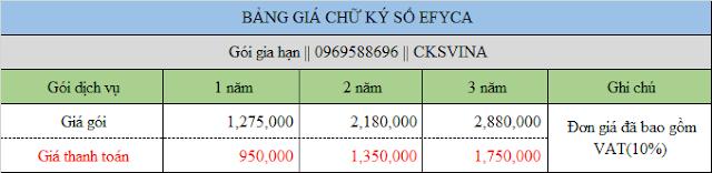 Bảng báo giá gia hạn chữ ký số Efy giá rẻ tại TPHCM