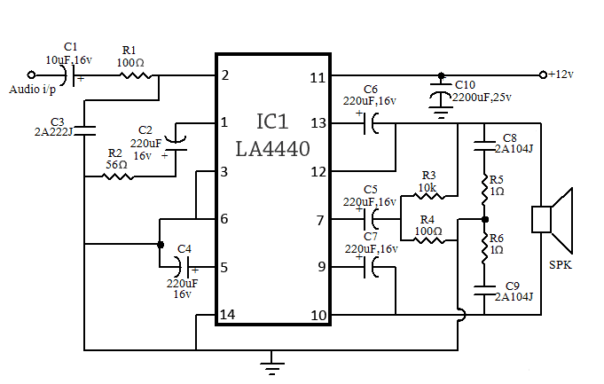 80W (40+40) Stereo Bridge Amplifier Circuit Using LA4440