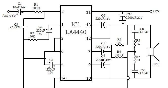 80w  40 40  stereo bridge amplifier circuit using la4440 with bass and treble for car desktop