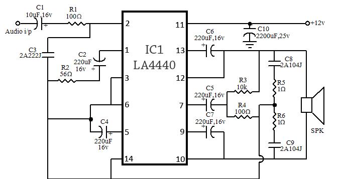 80W (40+40) Stereo Bridge Amplifier Circuit Using LA4440