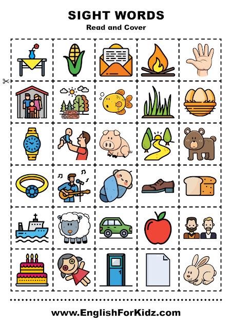 Sight words reading activity for kindergarten