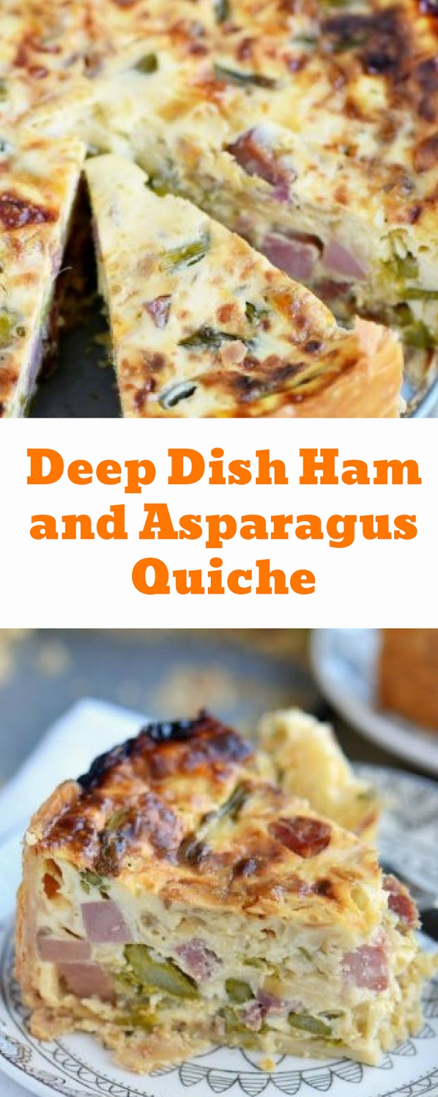 Deep Dish Ham and Asparagus Quiche Recipe