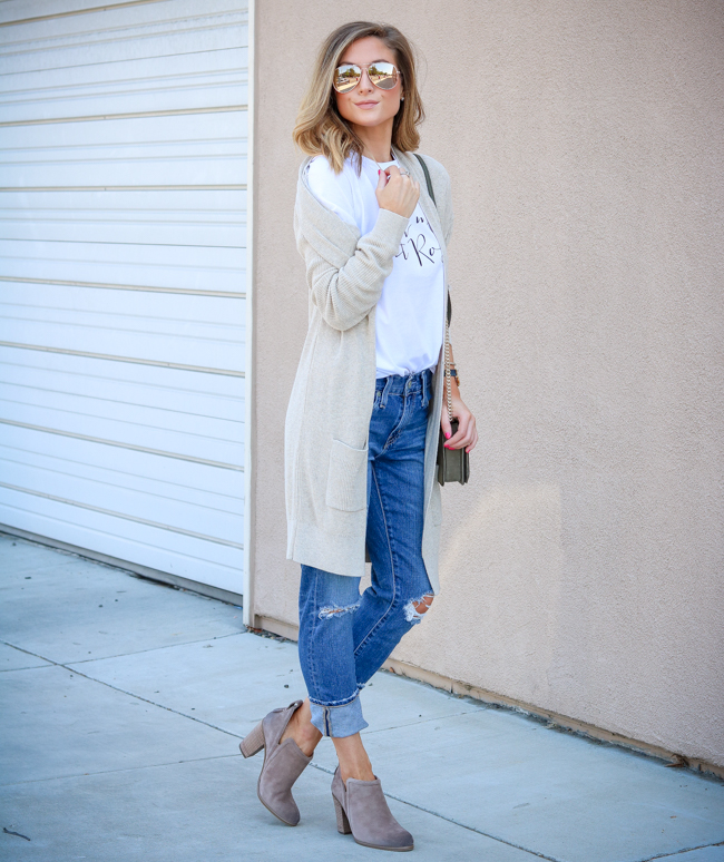 you had me at rose tee with boyfriend jeans and booties and cream cardigan