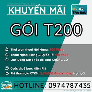 T200 - GÓI KHUYẾN MÃI TRẢ SAU VIETTEL T200