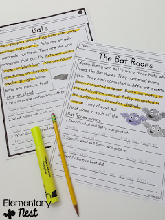 Differentiated Reading Passages (comes with 3 levels and fiction/nonfiction) Fall Activities for a primary classroom- PLUS a freebie!