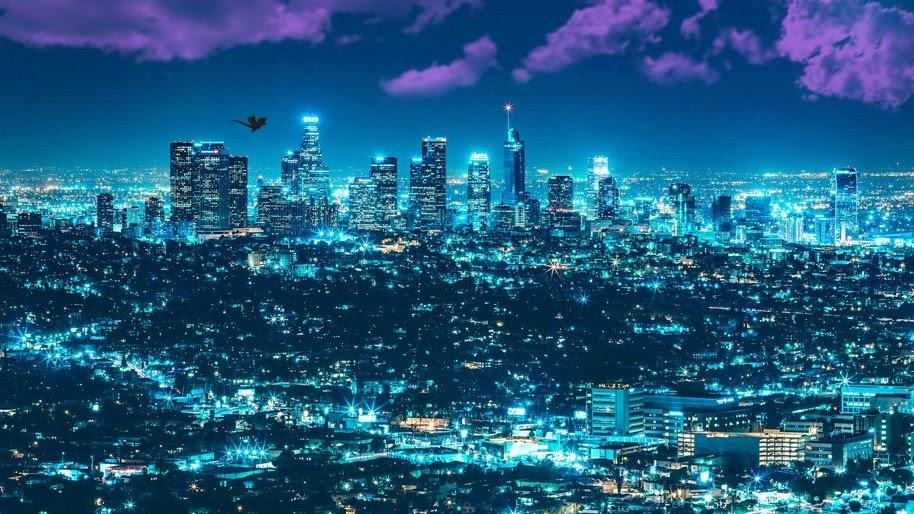 Los Angeles Cityscape Night City Buildings Digital Art 4k