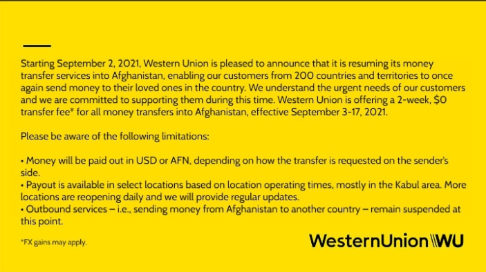 Western Union to resume Money-Transfer services to Afghanistan