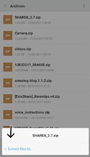 Pilih Extract untuk membuka file zip