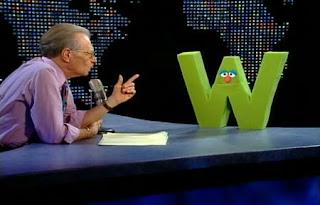 Larry King interviews the letter W. Sesame Street All Star Alphabet