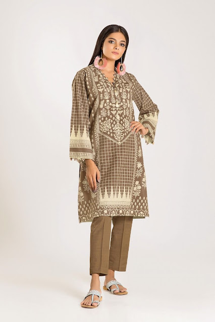 khaadi winter printed beige color cambric suit