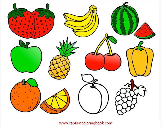 kids educations Coloring pages of Fruit