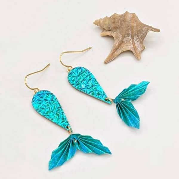 sparkly turquoise mermaid tail paper and brass origami earrings