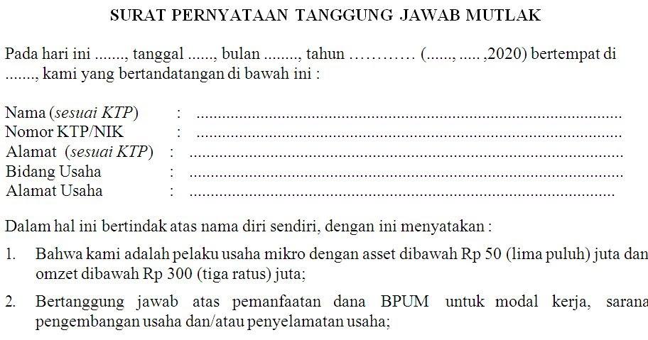 Surat pernyataan tanggung jawab mutlak UMKM | Cutbang Rahmat