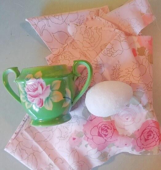 Upcycled Sugar Bowl Pin Cushion supplies